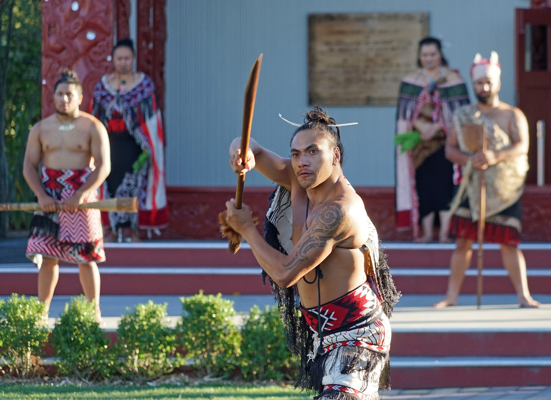 A Maori man performs during a  traditional ceremony in New Zealand.