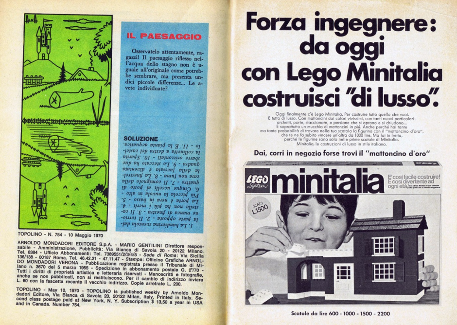 A booklet advertising the branding and product variation 'Minitalia.' This was a crucial part of lego's advertising in the 60s and 70s.