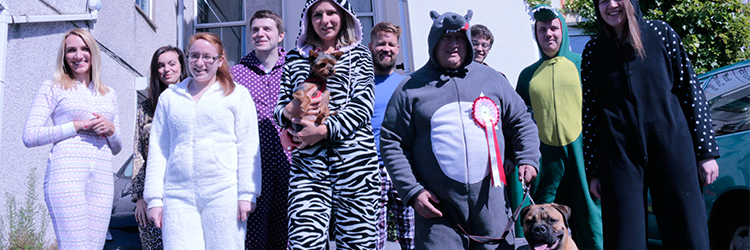 Wolfestone team in onesies