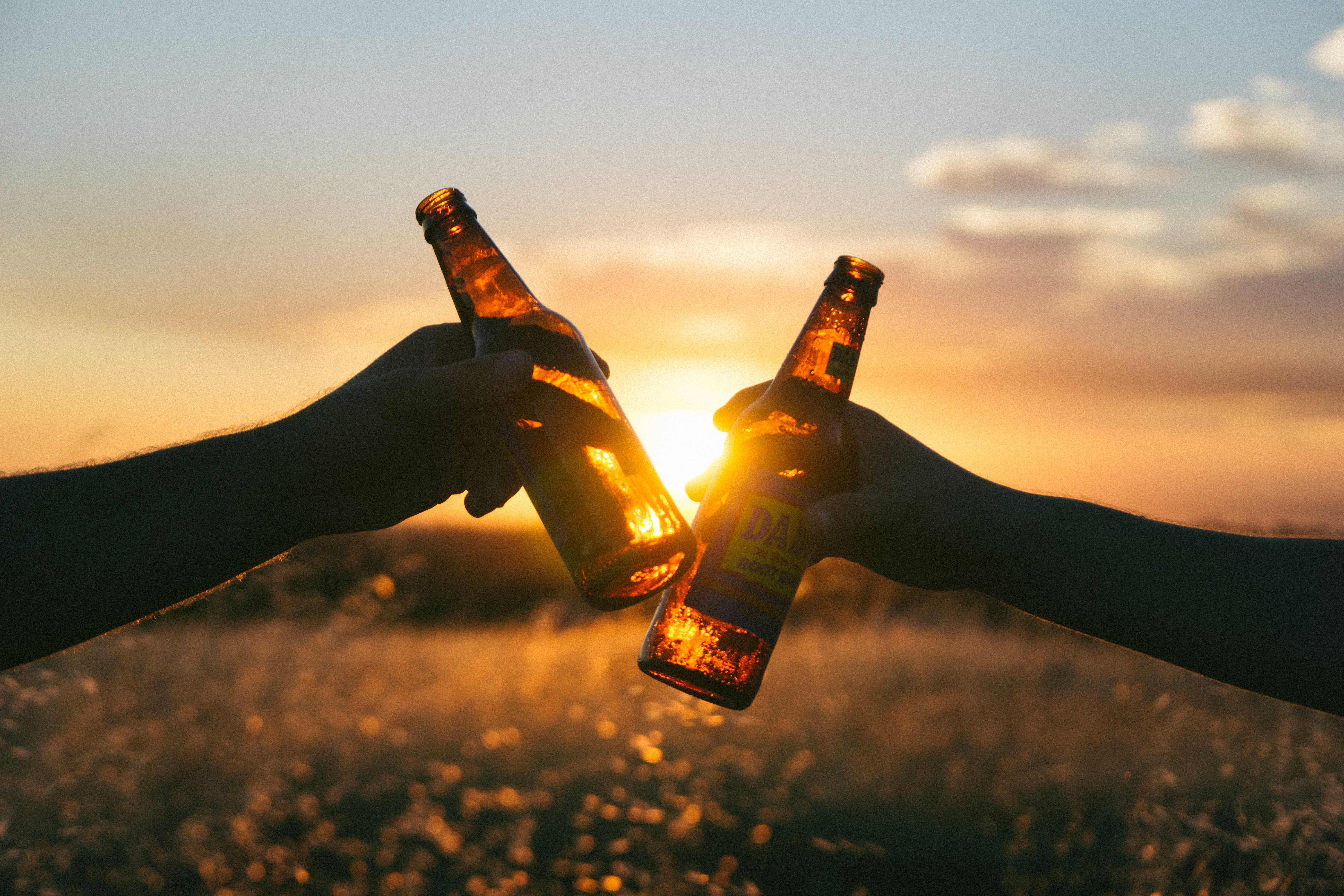 Picture of two beer bottles being clinked in cheers, against the backdrop of a sunset in the countryside