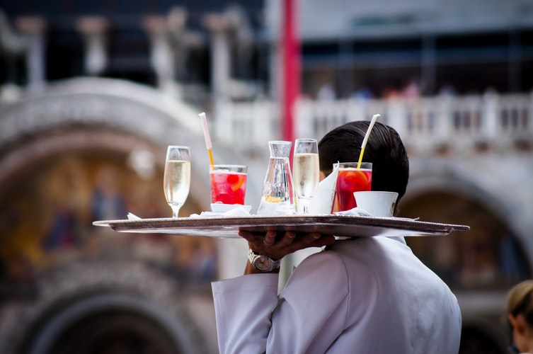 Waiter with beverages