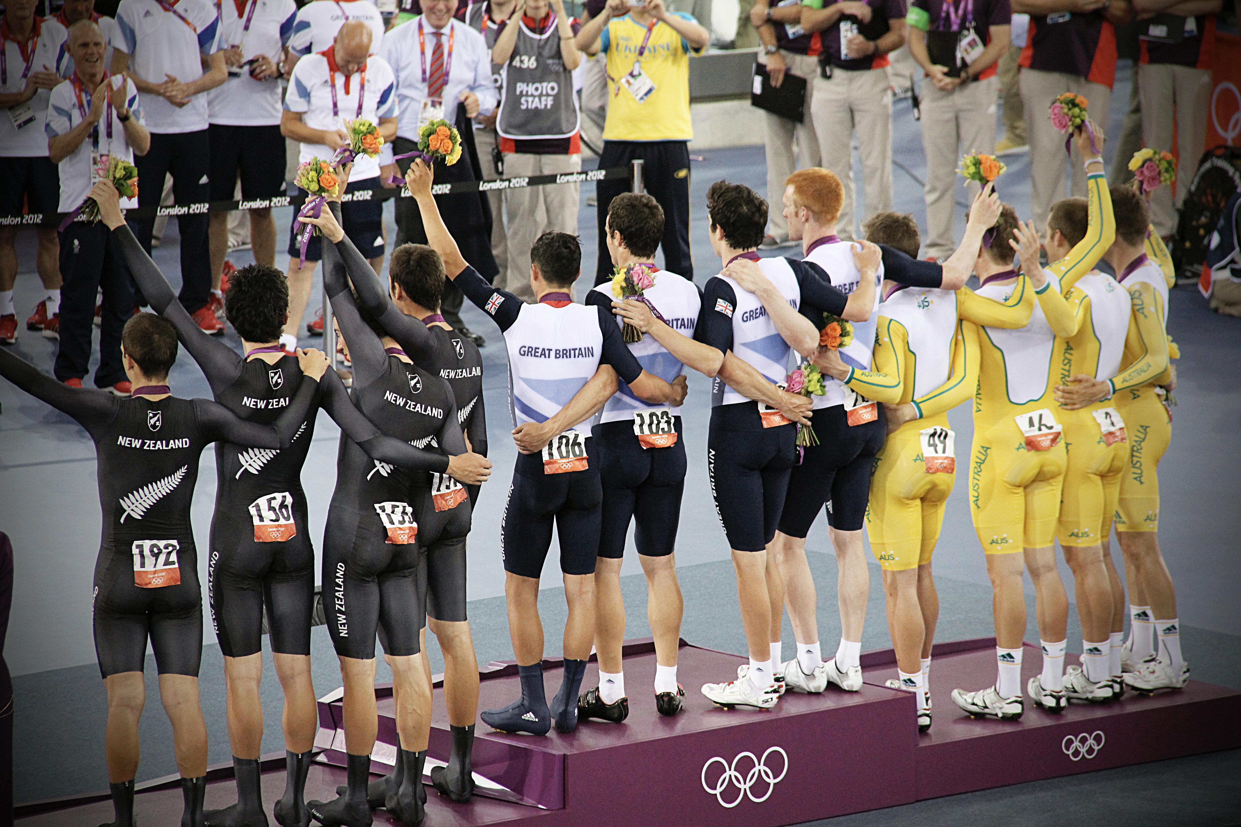 An image of sports winners standng on a podium. We believe that if you website translation for your food and drink exports, you can get 'first place' ahead of your competition.