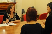 Emma Hughes working with suppliers